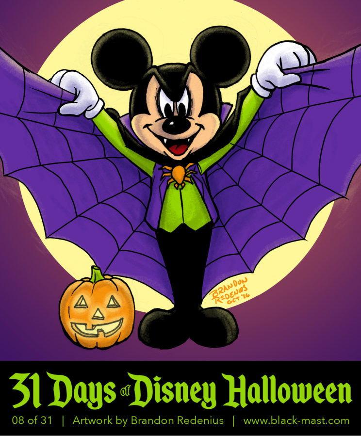 Day 8: Mickey Mouse in a vampire costume