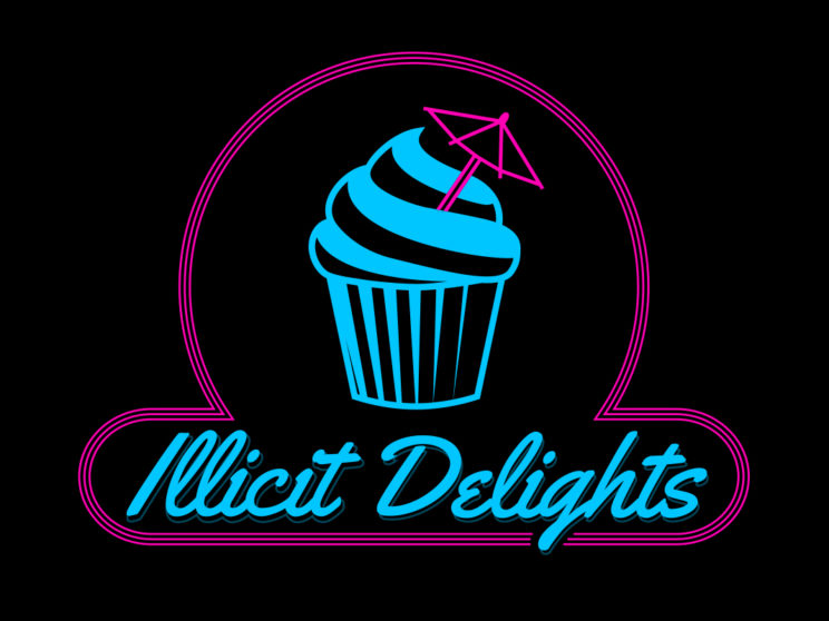 Illicit Delights: Logo for San Francisco-based baker specializing in mini cupcakes based off your favorite cocktails.