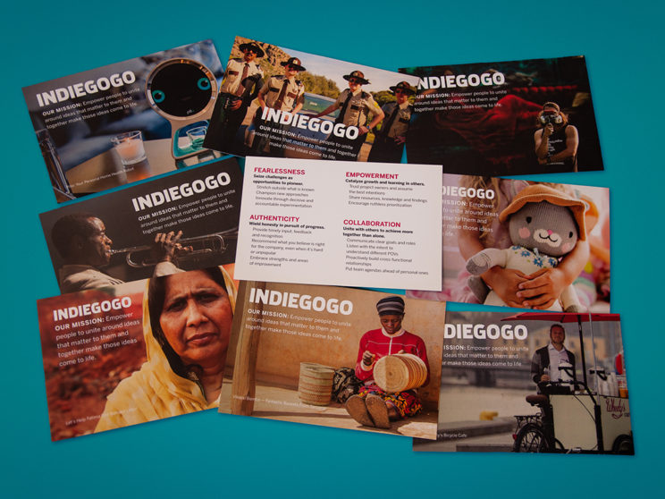 Indiegogo Mission and Values Postcards