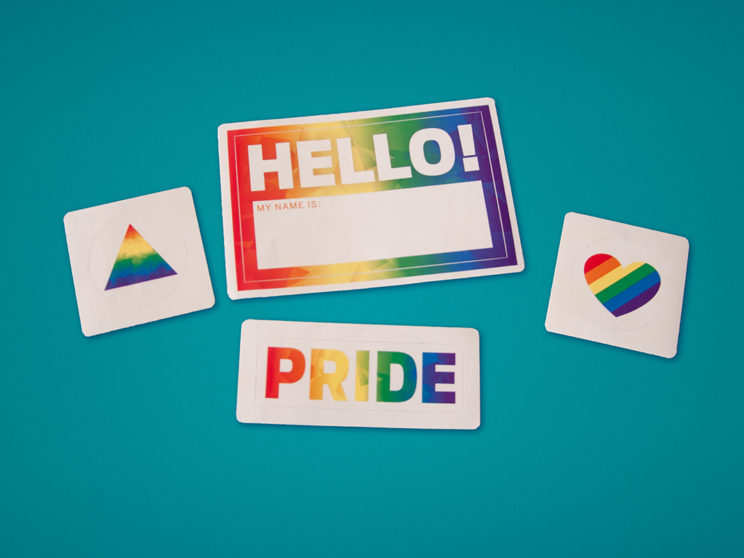 Indiegogo 2016 Pride Celebration Stickers and Nametags