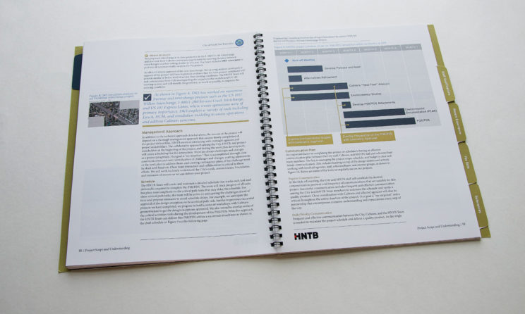 HNTB Graphic Design and Editorial Design - Project Scope Layout and Schedule Infographic