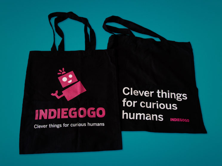 Indiegogo Marketplace Launch Tote Bags (Illustration by Meredith Lyon)