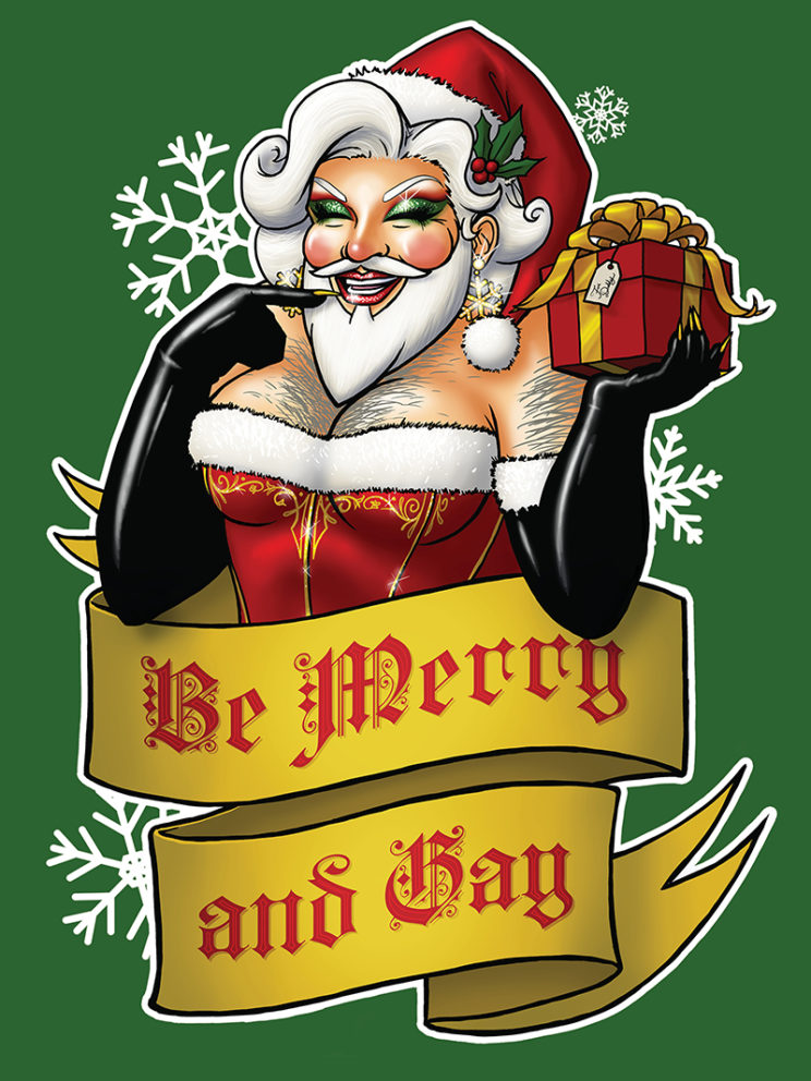 Santa Claus the Bearded Queen t-shirt design