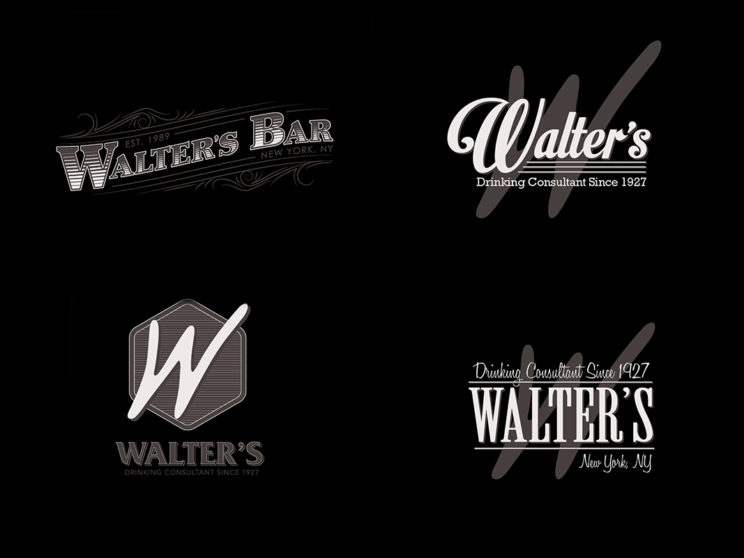 Walter's Bar Logo Process Work